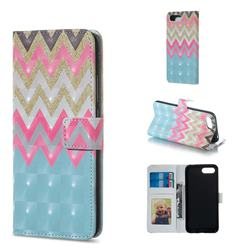 Color Wave 3D Painted Leather Phone Wallet Case for Huawei Honor 10
