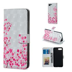 Cherry Blossom 3D Painted Leather Phone Wallet Case for Huawei Honor 10