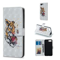 Toothed Tiger 3D Painted Leather Phone Wallet Case for Huawei Honor 10