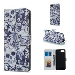 Skull Flower 3D Painted Leather Phone Wallet Case for Huawei Honor 10