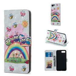 Rainbow Owl Family 3D Painted Leather Phone Wallet Case for Huawei Honor 10