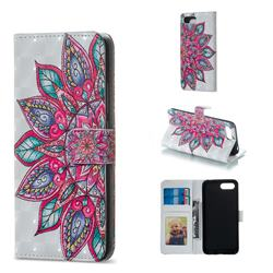 Mandara Flower 3D Painted Leather Phone Wallet Case for Huawei Honor 10