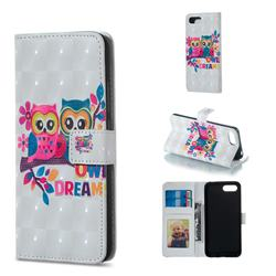 Couple Owl 3D Painted Leather Phone Wallet Case for Huawei Honor 10