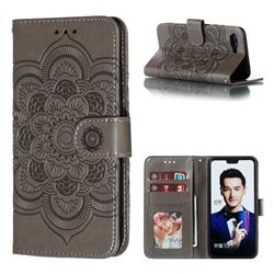 Intricate Embossing Datura Solar Leather Wallet Case for Huawei Honor 10 - Gray