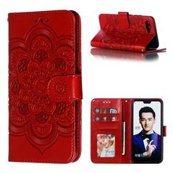 Intricate Embossing Datura Solar Leather Wallet Case for Huawei Honor 10 - Red