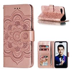 Intricate Embossing Datura Solar Leather Wallet Case for Huawei Honor 10 - Rose Gold