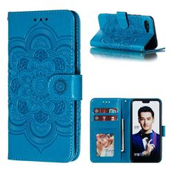 Intricate Embossing Datura Solar Leather Wallet Case for Huawei Honor 10 - Blue