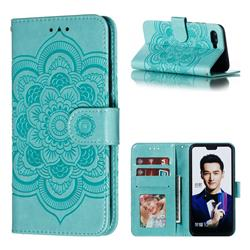 Intricate Embossing Datura Solar Leather Wallet Case for Huawei Honor 10 - Green