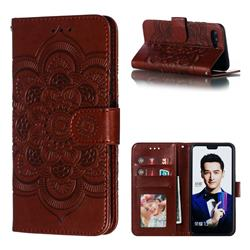 Intricate Embossing Datura Solar Leather Wallet Case for Huawei Honor 10 - Brown