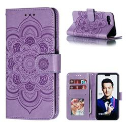 Intricate Embossing Datura Solar Leather Wallet Case for Huawei Honor 10 - Purple