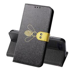 Silk Texture Bee Pattern Leather Phone Case for Huawei Honor 10 - Black