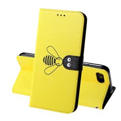 Silk Texture Bee Pattern Leather Phone Case for Huawei Honor 10 - Yellow