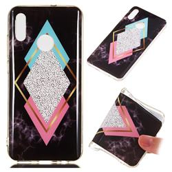 Black Diamond Soft TPU Marble Pattern Phone Case for Huawei Honor 10 Lite