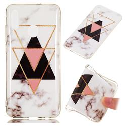 Inverted Triangle Black Soft TPU Marble Pattern Phone Case for Huawei Honor 10 Lite