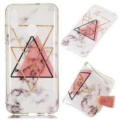 Inverted Triangle Powder Soft TPU Marble Pattern Phone Case for Huawei Honor 10 Lite