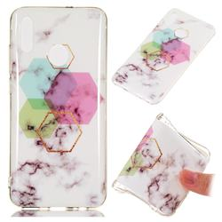 Hexagonal Soft TPU Marble Pattern Phone Case for Huawei Honor 10 Lite