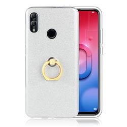 Luxury Soft TPU Glitter Back Ring Cover with 360 Rotate Finger Holder Buckle for Huawei Honor 10 Lite - White