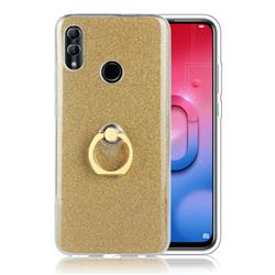 Luxury Soft TPU Glitter Back Ring Cover with 360 Rotate Finger Holder Buckle for Huawei Honor 10 Lite - Golden