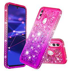 Diamond Frame Liquid Glitter Quicksand Sequins Phone Case for Huawei Honor 10 Lite - Pink Purple