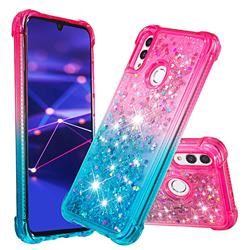 Rainbow Gradient Liquid Glitter Quicksand Sequins Phone Case for Huawei Honor 10 Lite - Pink Blue