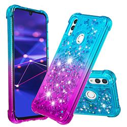 Rainbow Gradient Liquid Glitter Quicksand Sequins Phone Case for Huawei Honor 10 Lite - Blue Purple