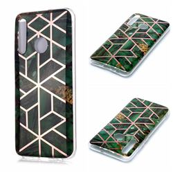 Green Rhombus Galvanized Rose Gold Marble Phone Back Cover for Huawei Honor 10 Lite