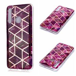 Purple Rhombus Galvanized Rose Gold Marble Phone Back Cover for Huawei Honor 10 Lite
