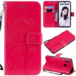 Embossing Butterfly Tree Leather Wallet Case for Huawei Honor 10 Lite - Rose