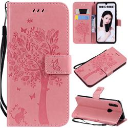 Embossing Butterfly Tree Leather Wallet Case for Huawei Honor 10 Lite - Pink