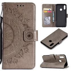 Intricate Embossing Datura Leather Wallet Case for Huawei Honor 10 Lite - Gray
