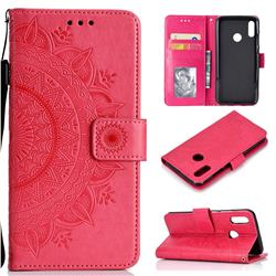 Intricate Embossing Datura Leather Wallet Case for Huawei Honor 10 Lite - Rose Red