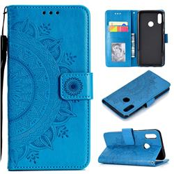Intricate Embossing Datura Leather Wallet Case for Huawei Honor 10 Lite - Blue