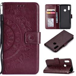Intricate Embossing Datura Leather Wallet Case for Huawei Honor 10 Lite - Brown