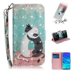 Black and White Cat 3D Painted Leather Wallet Phone Case for Huawei Honor 10 Lite