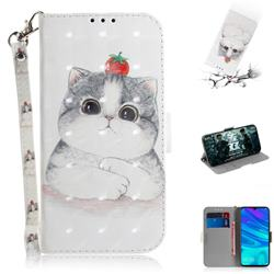 Cute Tomato Cat 3D Painted Leather Wallet Phone Case for Huawei Honor 10 Lite