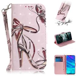 Butterfly High Heels 3D Painted Leather Wallet Phone Case for Huawei Honor 10 Lite