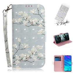 Magnolia Flower 3D Painted Leather Wallet Phone Case for Huawei Honor 10 Lite