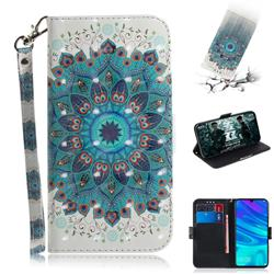 Peacock Mandala 3D Painted Leather Wallet Phone Case for Huawei Honor 10 Lite