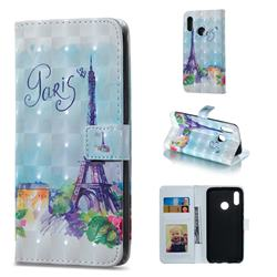 Paris Tower 3D Painted Leather Phone Wallet Case for Huawei Honor 10 Lite