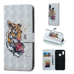 Toothed Tiger 3D Painted Leather Phone Wallet Case for Huawei Honor 10 Lite