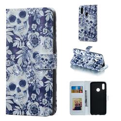 Skull Flower 3D Painted Leather Phone Wallet Case for Huawei Honor 10 Lite