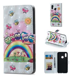 Rainbow Owl Family 3D Painted Leather Phone Wallet Case for Huawei Honor 10 Lite