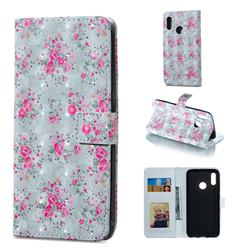 Roses Flower 3D Painted Leather Phone Wallet Case for Huawei Honor 10 Lite