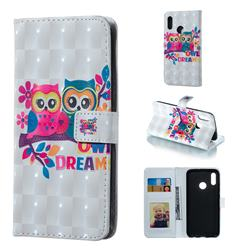 Couple Owl 3D Painted Leather Phone Wallet Case for Huawei Honor 10 Lite