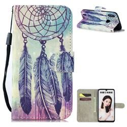 Feather Wind Chimes 3D Painted Leather Wallet Phone Case for Huawei Honor 10 Lite