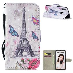 Paris Tower 3D Painted Leather Wallet Phone Case for Huawei Honor 10 Lite