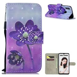 Purple Flower 3D Painted Leather Wallet Phone Case for Huawei Honor 10 Lite