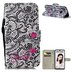 Lace Flower 3D Painted Leather Wallet Phone Case for Huawei Honor 10 Lite