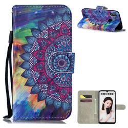 Oil Painting Mandala 3D Painted Leather Wallet Phone Case for Huawei Honor 10 Lite