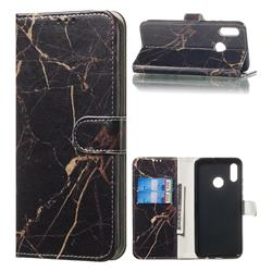 Black Gold Marble PU Leather Wallet Case for Huawei Honor 10 Lite